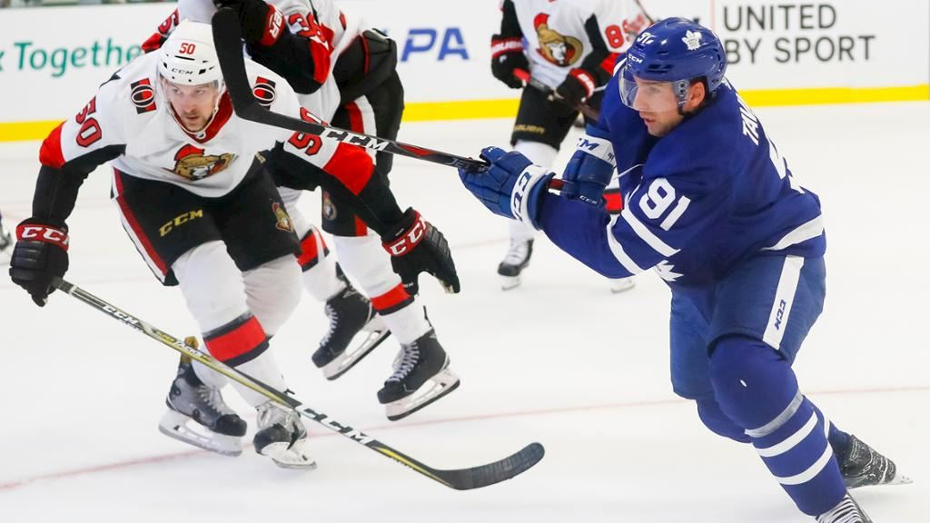 9bcd33648 Tavares scores twice in debut for Maple Leafs at Hockeyville