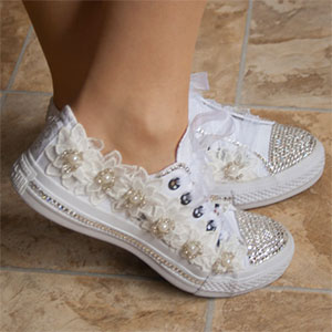 15ffcc63a3bb62 Upscale Swarovski and Lace Converse Wedding Shoes