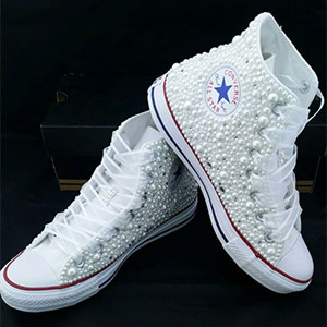 b4ef4c6ee07e65 Pearl and Crystal High Top Converse Wedding Shoes (Adult or Child)