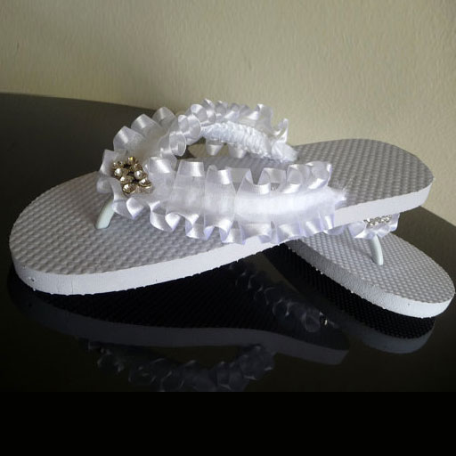 3ec9da056 Ribbon and Rhinestone Wedding Flip Flops