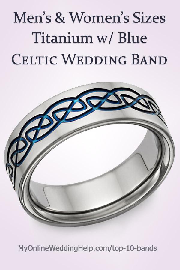 Men's and Women's Titanium with Blue Celtic Wedding Band | Blue Titanium Celtic Wedding Band Ring #CelticWeddingBand #MyOnlineWeddingHelp #TitaniumWedding #TitaniumBand