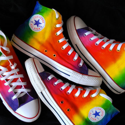 a304e077562c94 Custom Rainbow Sneakers for Wedding (hi- or low-top