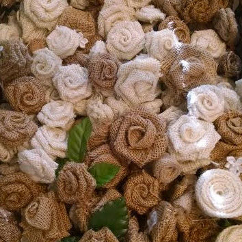 50 Burlap Wedding Roses