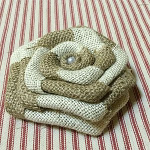 Two Tone Burlap Rose