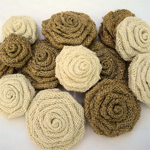 Burlap Flowers for Wreath or Wedding Decor