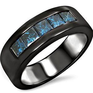 Mens Channel Set Blue Diamond Wedding Band