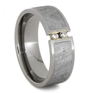 Men's Meteorite and Titanium Etched Diamond Wedding Band