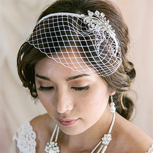 d8f04e4776f4c Petite   Short Birdcage Veil with Headband and Brooch. White or Ivory.  Optional Crystals on Veil Edge (not pictured)