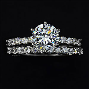 White Gold Plated CZ Wedding Ring Set