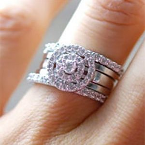 5 Piece Halo Solitaire Wedding Rings Set