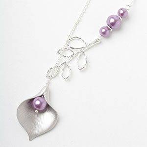 Unique silver and purple flower necklace