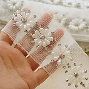 Bead and Rhinestone Flower Trim