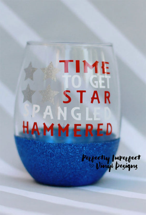 Star Spangled Hammered Patriotic July 4th Stemless Wine Glass