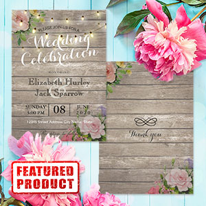 Rustic Floral Wedding Invites