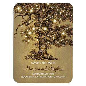 Initial Heart Tree Save the Date Magnet