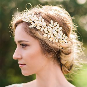 Silver or Gold Leaf and Pearl Crown