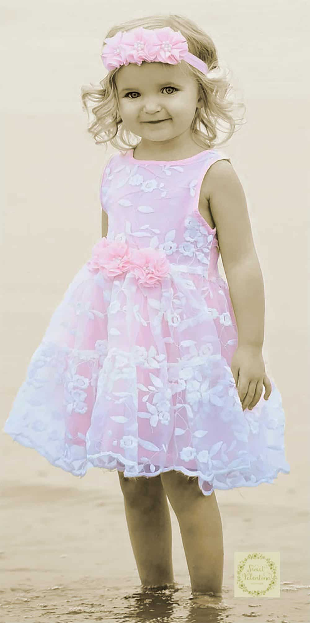 Embroidered organza lace and pink flower girl dress.