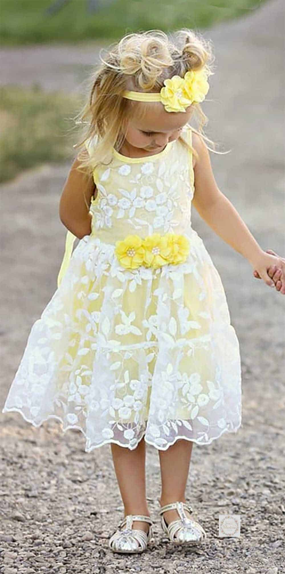 Yellow organza lace and cotton flower girl dress.