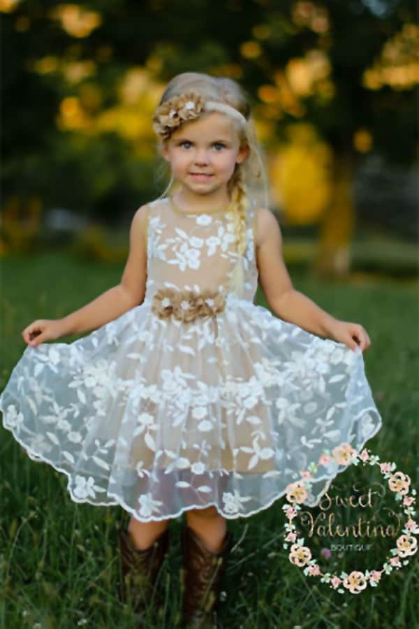 bad552cb54876 Rustic Flower Girl Dress. Shown in Toffee (perfect for a burlap wedding!)
