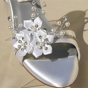 d3cb64ea3 Hand Decorated Crystal and Flower 1 inch Wedding Wedges. White