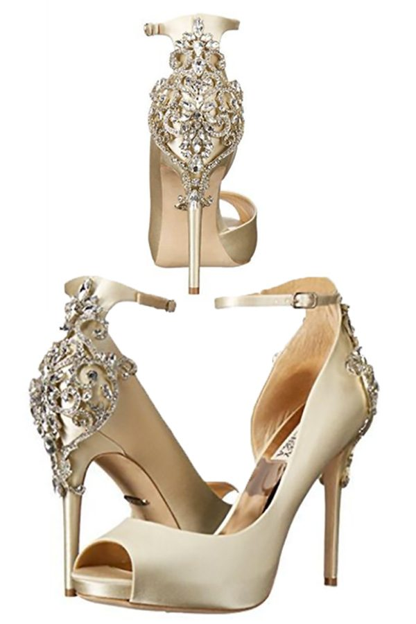 The sparkly high heels are wedding shoes bling. The bride will look stunning with those ankle straps and rhinestone crystals. Look for these as the first buy listing on the page. In the My Online Wedding Help products section. #MyOnlineWeddingHelp #WeddingShoes #SparklyShoes #HighHeels #WeddingBling #WeddingSparkle #WeddingShoes