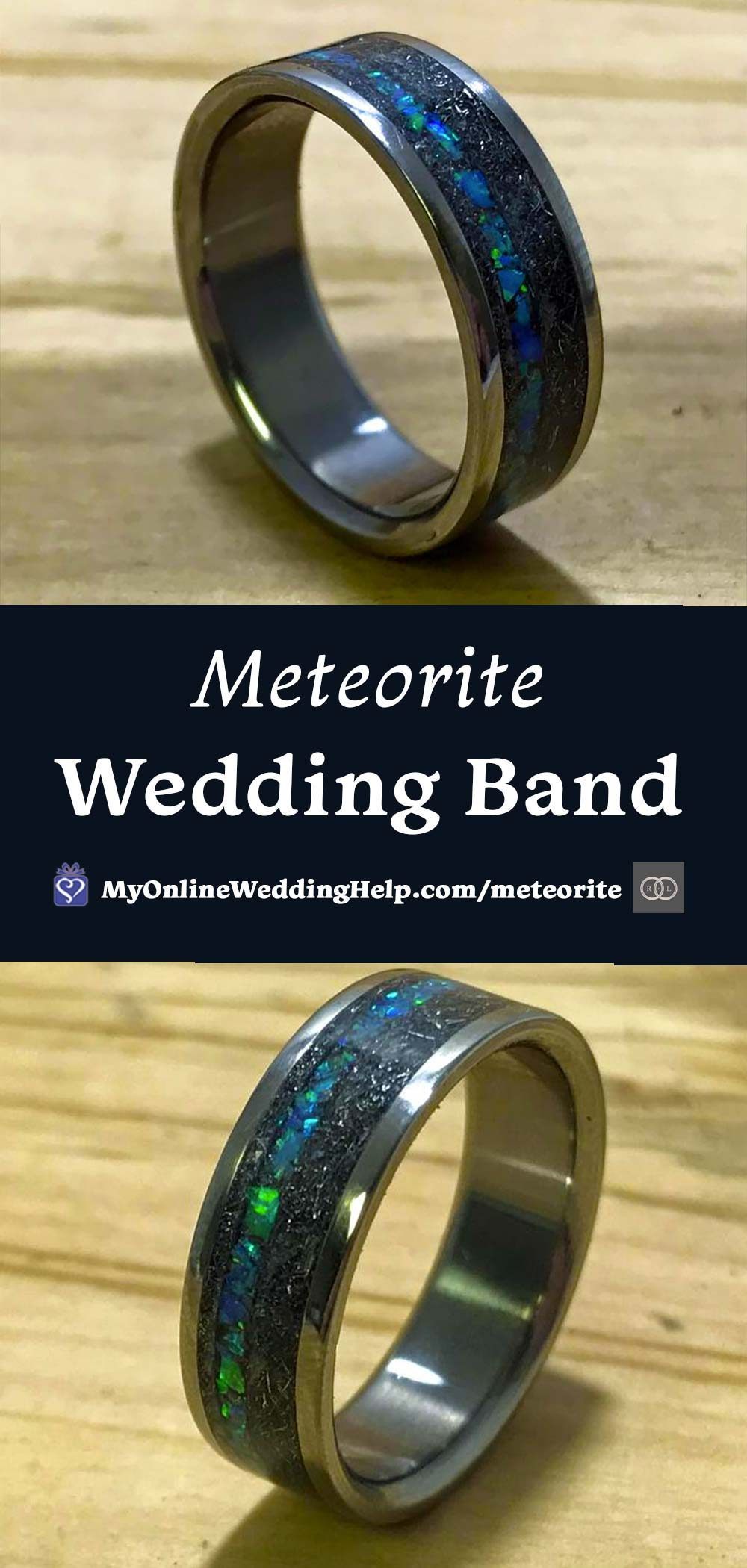 Meteorite Blue Titanium Wedding Band