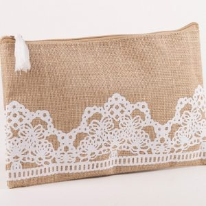 Lacey Jute Cosmetic Bag (Personalization Available)