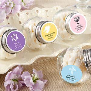 Mini Glass Personalized Favor Jar-Set of 12 (Religious Designs)