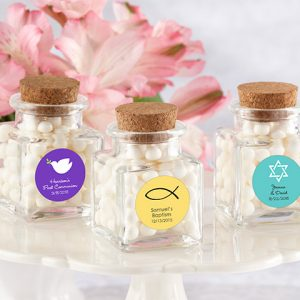"""Petite Treat"" Personalized Square Glass Favor Jar with Cork Stopper-Set of 12 (Religious)"