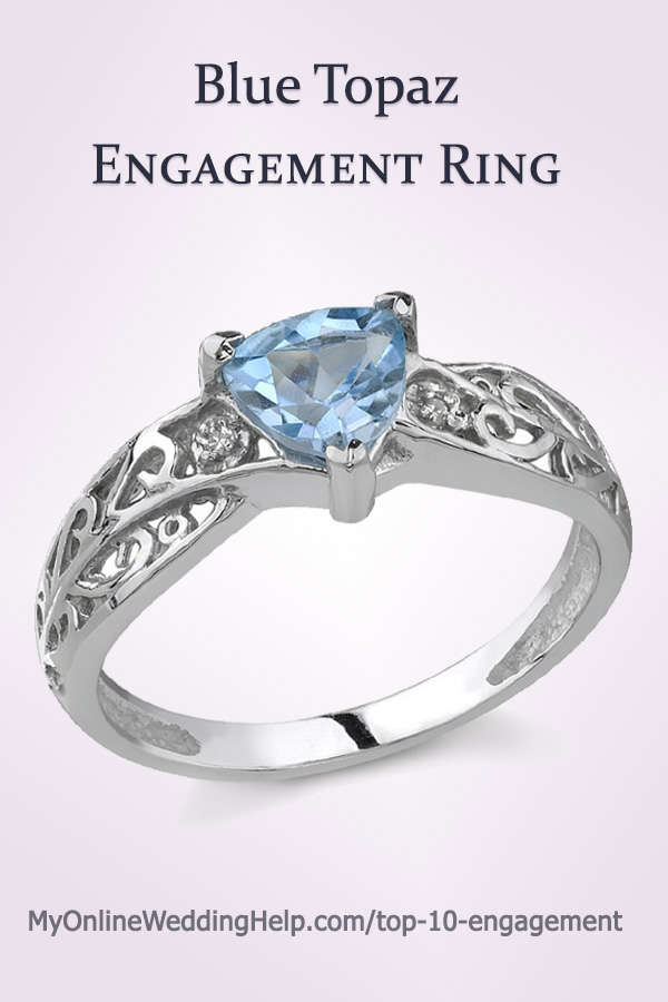 Blue Topaz Engagement Ring   Blue Topaz and Diamond Engagement Ring. Solid 14K white gold. #GemstoneEngagement #MyOnlineWeddingHelp #EngagementRing #BlueEngagementRing