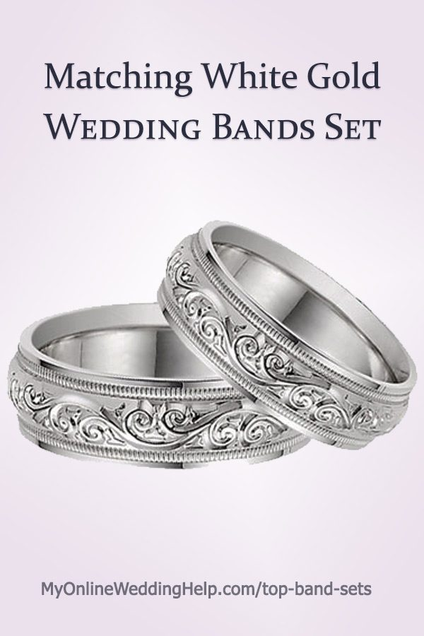 Matching White Gold Wedding Bands Set | Paisley Design White Gold Wedding Band Set #WeddingBandsSet #MyOnlineWeddingHelp #MatchingWeddingBands #WeddingBands