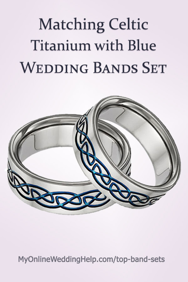 Celtic Wedding Band Set  Blue Design, Titanium  Price for two bands