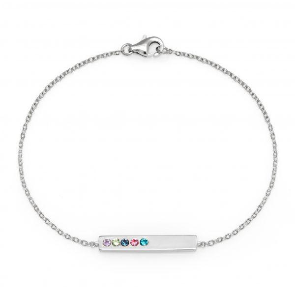 5 Stone Birthstone Silver Name Bar Bracelet