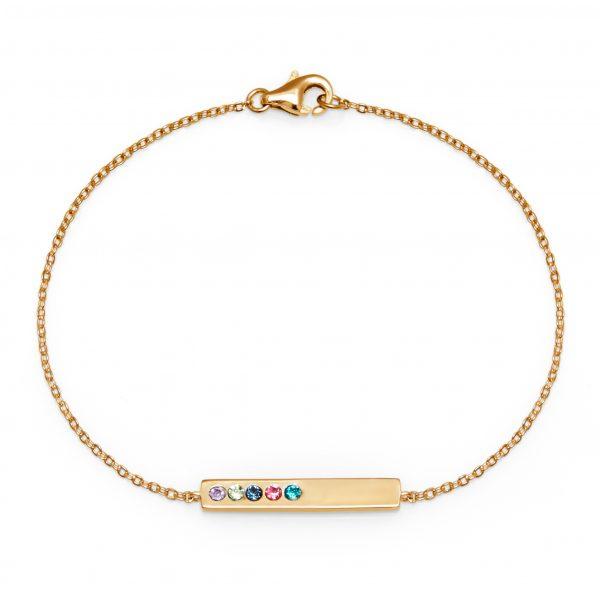 5 Stone Birthstone Gold Name Bar Bracelet