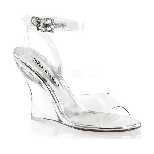 Women's Fabulicious Lovely 406 Wedge Sandal, Size: 9 M, Clear PVC/Clear