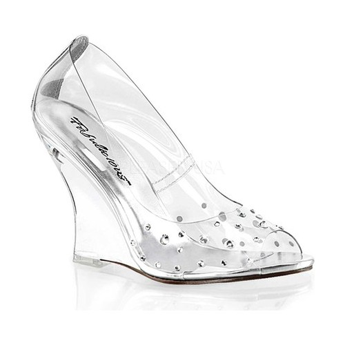 Women's Fabulicious Lovely 420RS Open Toe Wedge Heel, Size: 8 M, Clear PVC/Clear