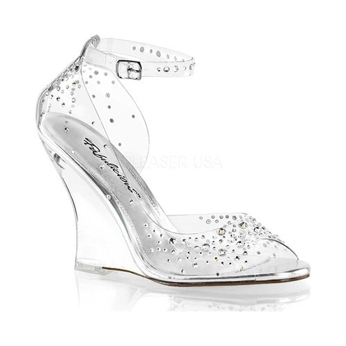Women's Fabulicious Lovely 430RS Ankle Strap Wedge Heel, Size: 8 M, Clear PVC/Clear