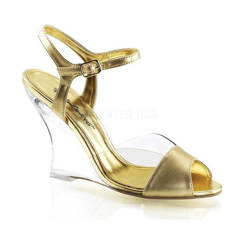 Women's Fabulicious Lovely 442, Size: 9 M, Clear/Gold Metallic PU/Clear