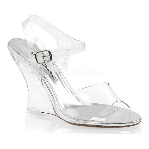 Women's Fabulicious Lovely 408 Ankle-Strap Wedge Sandal, Size: 8 M, Clear PVC/Clear