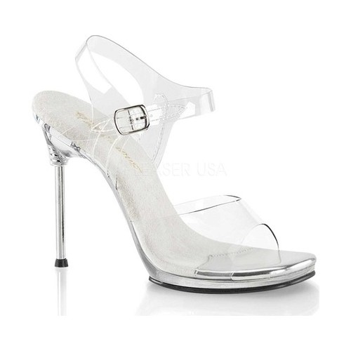 Women's Fabulicious Chic 08 Ankle-Strap Sandal, Size: 9 M, Clear PVC/Clear
