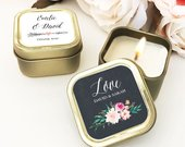 Gold Wedding Favors Custom Candle Wedding Favors Personalized Wedding Favors Bulk Candle Favors for Wedding Guests (EB3211GDN) 12 pcs
