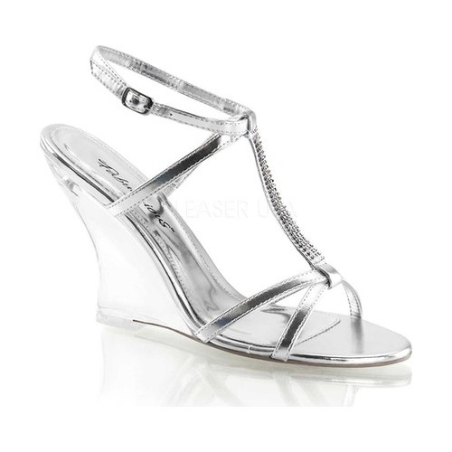Women's Fabulicious Lovely 428, Size: 7 M, Silver Metallic PU/Clear