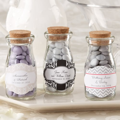 Personalized Bridal Vintage Milk Favor Jars