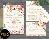 Floral wedding invitation template Wedding invitation Printable wedding invites set Wedding invitations set printable Printable invitations