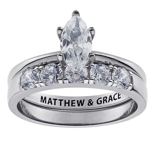 Sterling Silver Marquise CZ 2 Piece Engraved Wedding Set