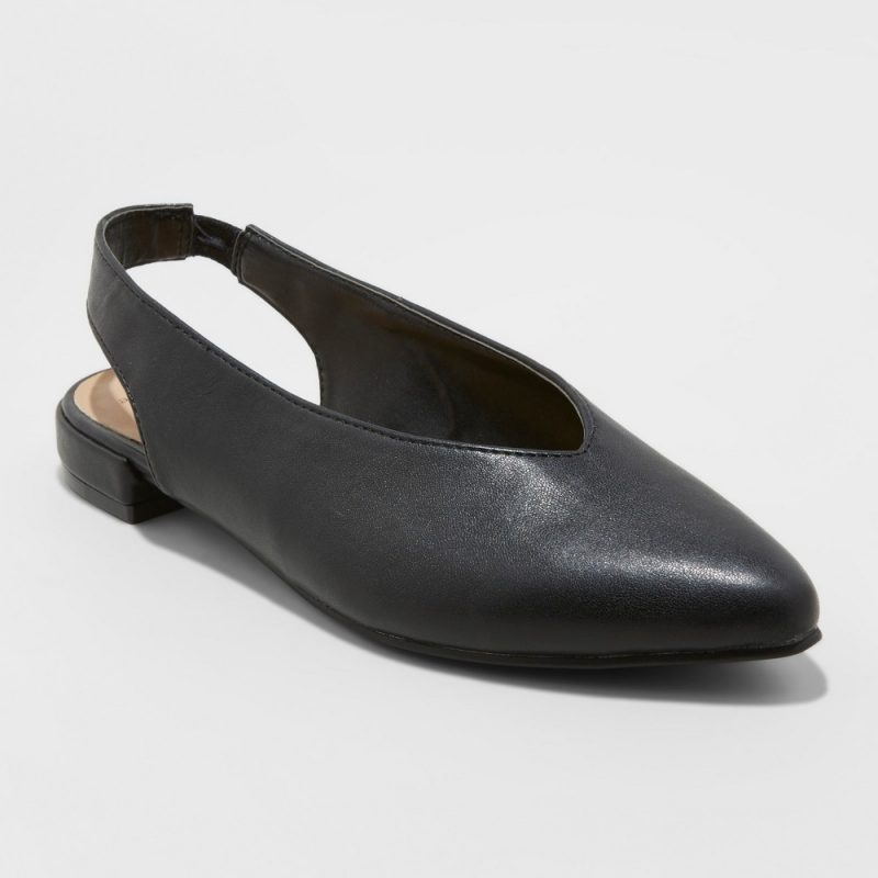Women's Nicka Choked Up Sling Back Ballet Flats - A New Day Black 10