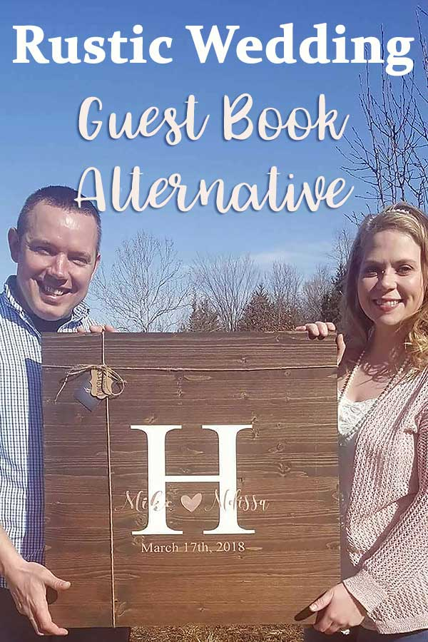 Unique wood sign as rustic wedding guest book alternative. Jayme stains birch to make the guestbooks. If you'd like yours lighter or darker, just ask. Click and look at the first listing to buy. #MyOnlineWeddingHelp #RusticWedding #woodenguestbook #rusticGuestBook