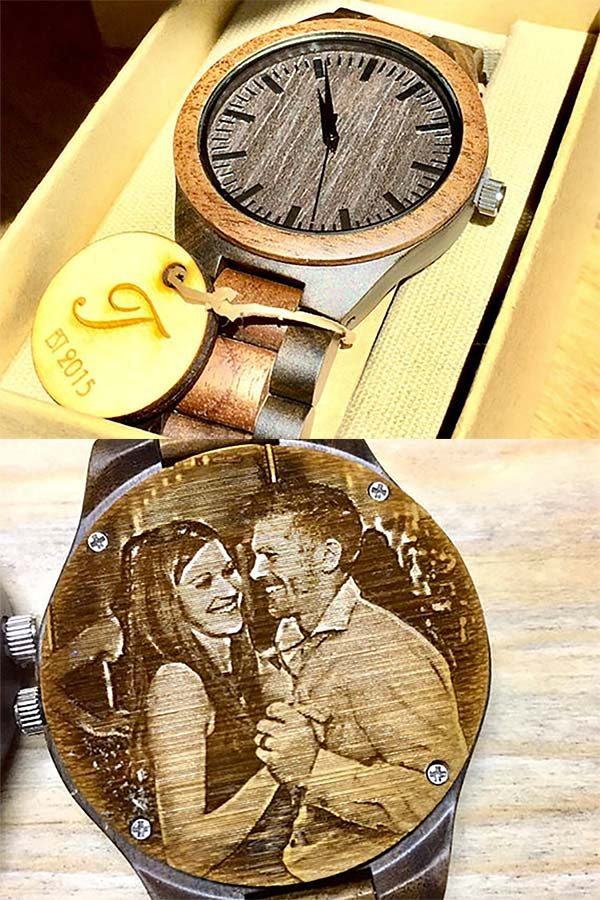 Idea for groom gift from the bride: wedding day watch. This personalized wooden watch is handmade from bamboo wood. Tucker will engrave a picture on the back or a message from you to your future husband. Click on the first listing on the page for more info or to order. #MyOnlineWeddingHelp #WoodenWatch #groomgift #personalizedgift #uniqueweddinggift