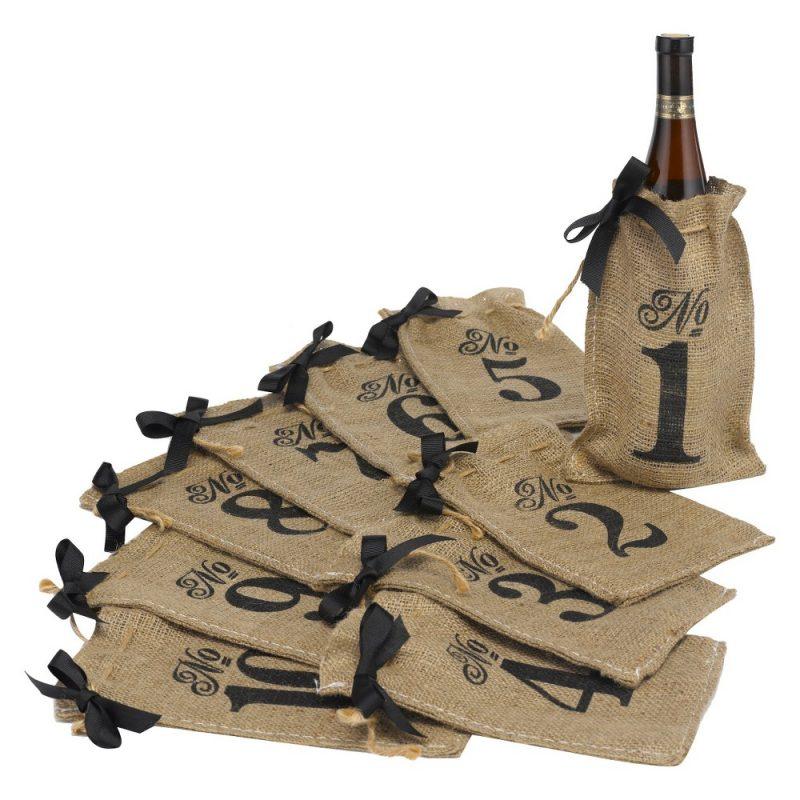 Burlap Bag Wedding Table Numbers (1-10)