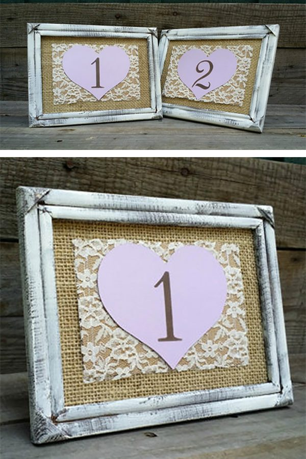 I love the distressed look on these rustic shabby chic frames. They make great looking wedding table numbers (that's burlap and lace). You can get the whole thing done for you by MaryAlice. Look at the first two listings on the page for more info and to order. #MyOnlineWeddingHelp #RusticWedding #BurlapWedding #TableNumbers